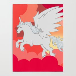 Alicorn at Sunset Poster