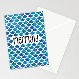Mermaid Scales in Blue Stationery Cards