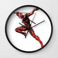 xmen Wall Clocks featuring DEADPOOL PAINT SWIRL marvel xmen x-men film movie by Radiopeach