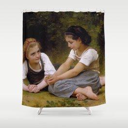 "William-Adolphe Bouguereau ""The Nut Gatherers"" Shower Curtain"