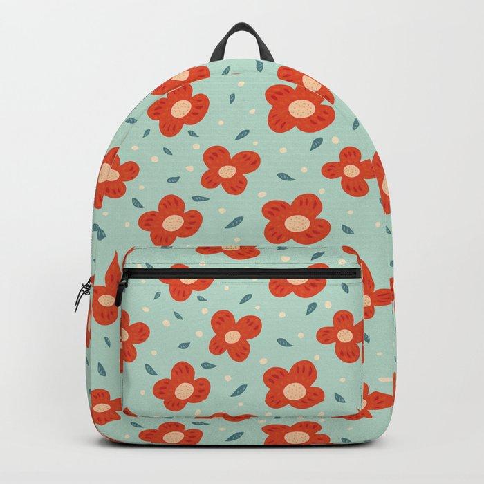 Simple Pretty Orange Flowers Pattern Backpack