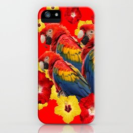 TROPICAL BLUE MACAWS & RED YELLOW HIBISCUS RED ART iPhone Case