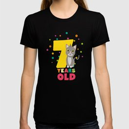 Seven Years seventh Birthday Party Cat Dkp39 T-shirt