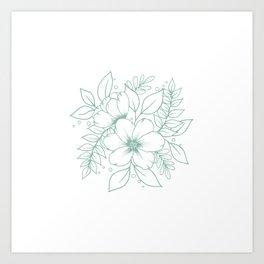 Mint Florals Art Print