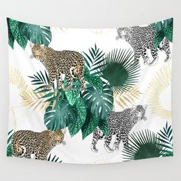 Modern leopard and tropical leaves design Wall Tapestry