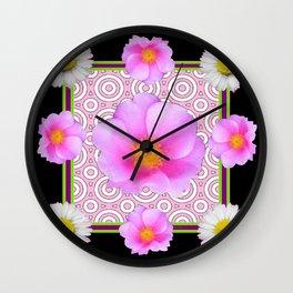 Modern Art Style Shasta Daisy Pink Roses  Black Color Abstract art Wall Clock