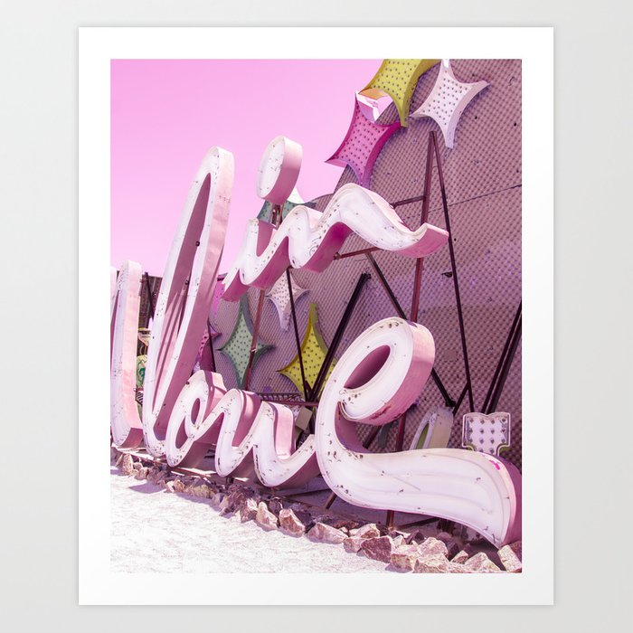 """Pink """"In Love"""" Sign at the Neon Museum in Las Vegas, Nevada Art Print"""