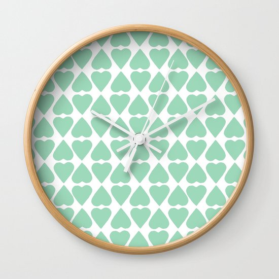 Diamond Hearts Repeat Mint Wall Clock
