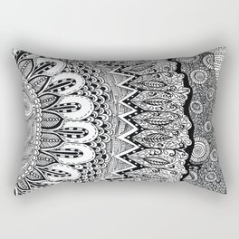 Black and White Doodle Rectangular Pillow