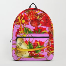 FESTIVE  GOLD BELLS PINK-RED CHRISTMAS ART Backpack