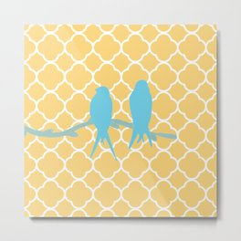Modern trendy orange blue birds quatrefoil pattern Metal Print