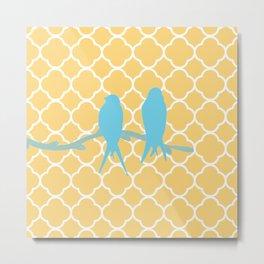 Modern trendy orange blue birds quatrefoil pattern Metal Print
