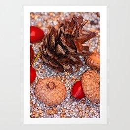 Rosa coxis in arbores autumnales Art Print