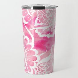 Modern boho pink watercolor white floral mandala  pattern Travel Mug