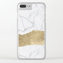 Elegant faux gold foil gray white modern marble Clear iPhone Case