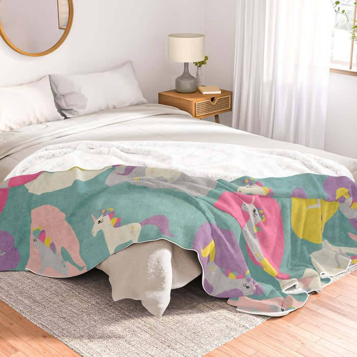 Cute Unicorn Polka Dots Teal Pastel Colors And Linen Texture Homedecor Apparel Stationary