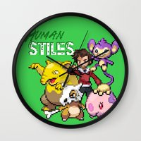 stiles stilinski Wall Clocks featuring PokeWolf: Stiles Stilinski by Trickwolves