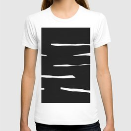 Maze Black & White Minimalist Ink Tribal Mid Century Pattern Dark Painting Pattern T-shirt