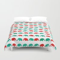 elephants Duvet Covers featuring Elephants  by UvinArt