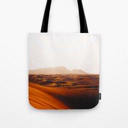 Minimalist Desert Landscape Sand Dunes With Distant Mountains Tote Bag