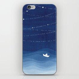 Follow the garland of stars, ocean, sailboat iPhone Skin