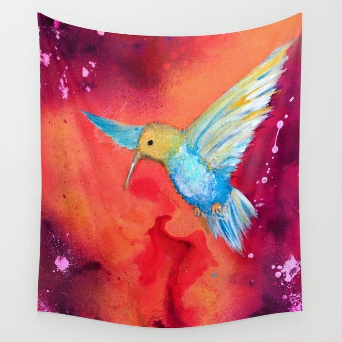 Autumn Hummingbird Wall Tapestry
