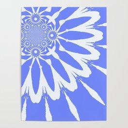 The Modern Flower Baby Blue & White Poster