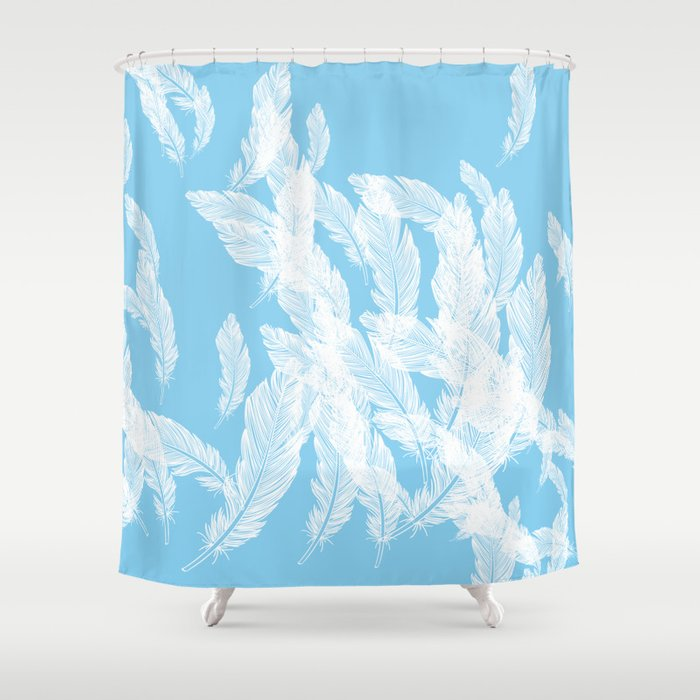 Baby blue feathers Shower Curtain