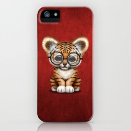 Cute Baby Tiger Cub Wearing Eye Glasses on Deep Red iPhone Case