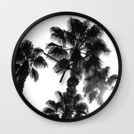 Palm Tree Art Print {3 of 3} | B&W Topical Beach Plant Nature Vacation Sun Vibes Artwork Wall Clock