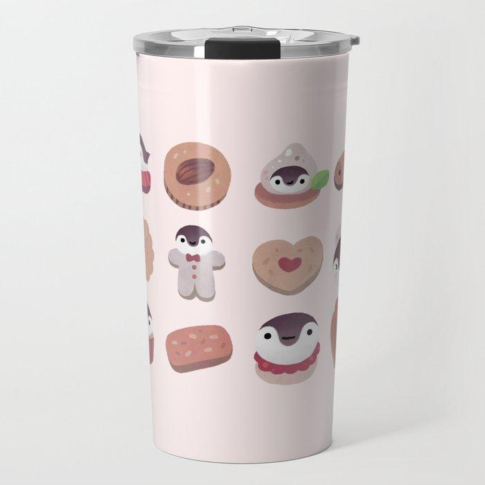 Cookie & cream & penguin - pink pattern Travel Mug