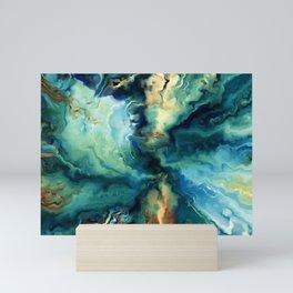 Marbled Ocean Abstract, Navy, Blue, Teal, Green Mini Art Print