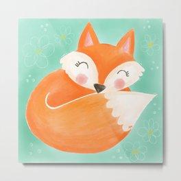 Sweet Sleeping Fox Metal Print