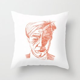 Andy portrait (Red) Throw Pillow