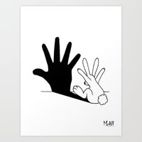 rabbits Art Prints featuring Rabbit Hand Shadow by Mobii