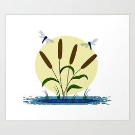 Cattails and Dragonflies Art Print