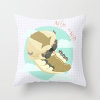 aang Throw Pillows featuring Appa - Avatar the legendo of Aang by Manfred Maroto