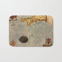 Map Of Cornwall 1588 Bath Mat