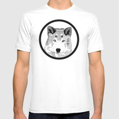 Hippie Wolf White Mens Fitted Tee SMALL