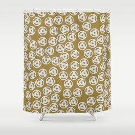 Discs Silver on Gold Shower Curtain