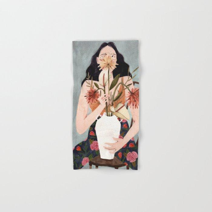 Hilda with vase Hand & Bath Towel