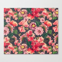 Vintage Flowers and Bees Canvas Print
