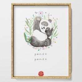 Panda Nursery Illustration Serving Tray