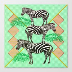 zebras in the jungle Canvas Print