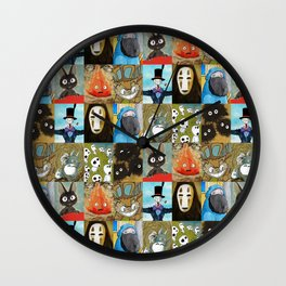 Studio Ghibli Collage - Calcifer, Jiji, Turnip, No Face, Markl, Kodama, Cat Bus & Soot Sprites Wall Clock