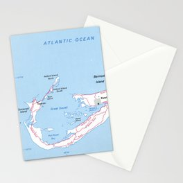 Vintage Map of Bermuda (1976) Stationery Cards