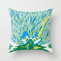 Guitar Explosion Throw Pillow