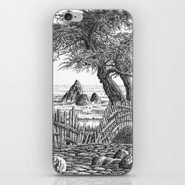 COASTAL CYPRESS TREES VINTAGE PEN DRAWING iPhone Skin