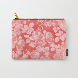Living coral pink watercolor country chic floral Carry-All Pouch