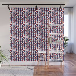 Nautical Red and White Lifebelts on Navy Blue Stripes Wall Mural